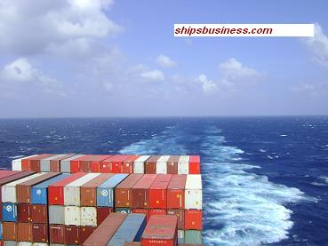 Container ship aft view