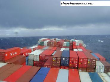 container ship in heavy weather conditions