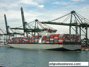 Container ship loaded condition prior sailing