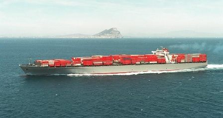 Laden containership on coastal navigation
