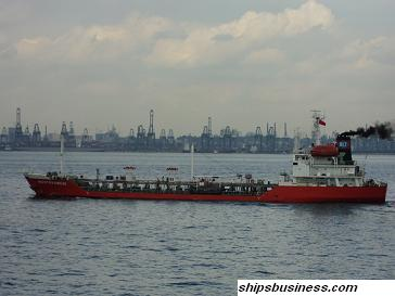 sludge collecting ship at singapore