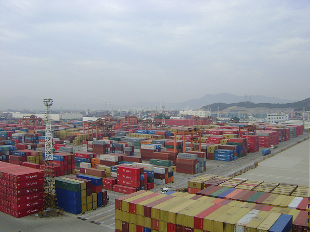 containerized cargo awaiting  at yard
